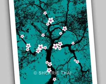 Asian White Cherry Blossoms Tree, Teal Green Japanese Style, Art Print, Sale