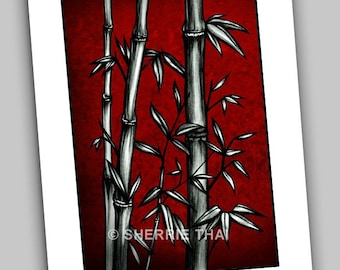 Red Bamboo, Detailed Asian Style Ink Illustration Fine Art Print 8.5x11inches