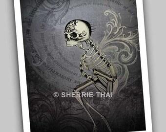Distortion of Humanity, Skeleton Skull Bones Gothic Horror Surrealism Fine Art Print