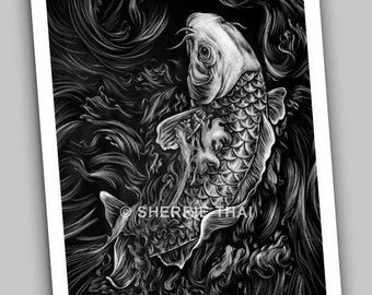 Koi, Detailed Asian Tattoo Style Fish, Fine Art Print