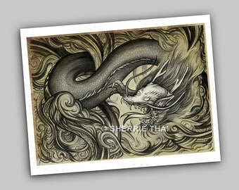 Mythos, Tattoo Style Asian Dragon, Fine Art Print