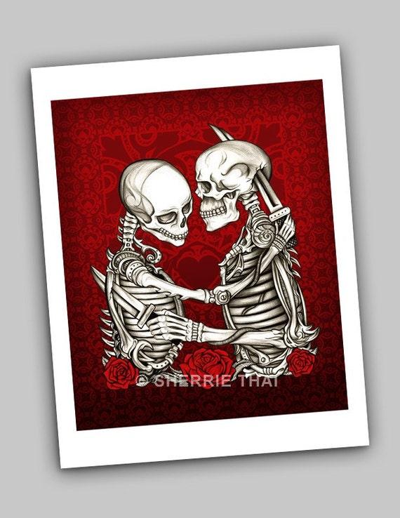 Skeleton Lovers Gothic Fine Art Print, Love & Hate