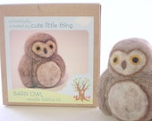 needle felting kit - craft kit- DIY  owl