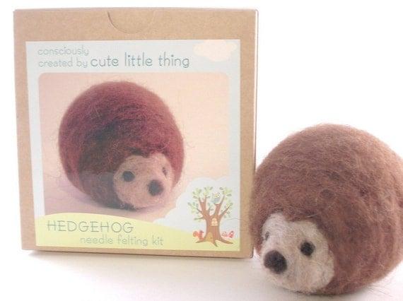 needle felting kit - craft kit - DIY hedgehog