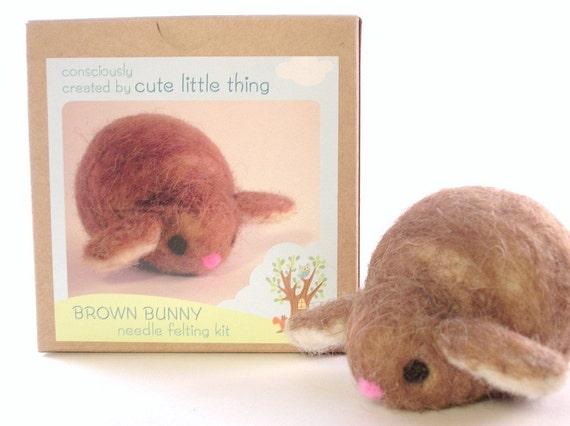 diy felt - needle felting kit - craft kit- DIY bunny