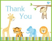 Baby Shower Thank You Notes, Jungle Safari Theme, Set of 100 - Printed Cards and Envelopes with FREE shipping