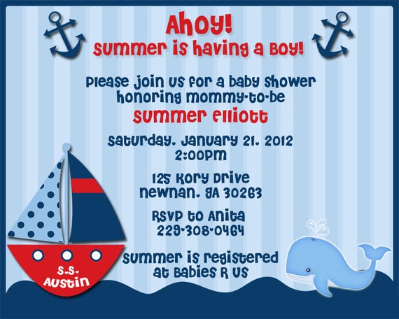 ahoy its a boy nautical theme baby shower invitations reserved for