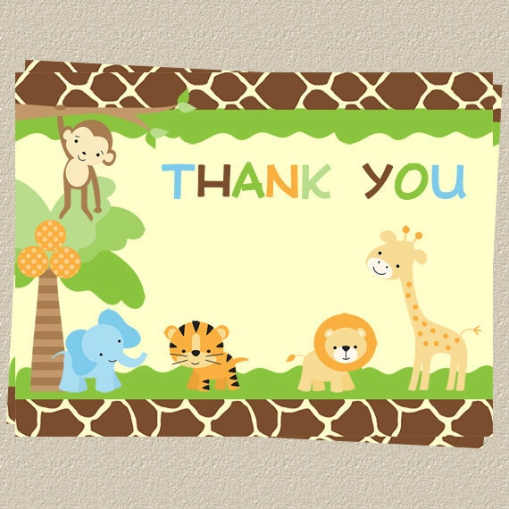 safari baby shower thank you cards