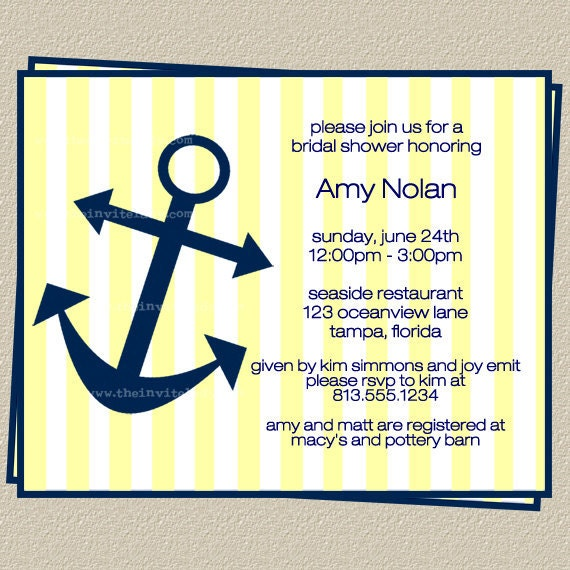 Nautical Wedding Shower Invitations, Anchors Away Bridal Shower, Set ...