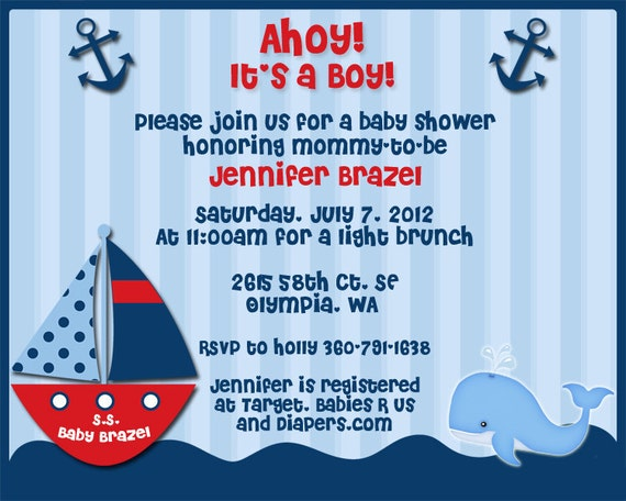 ahoy its a boy nautical theme baby shower invitations for jen b