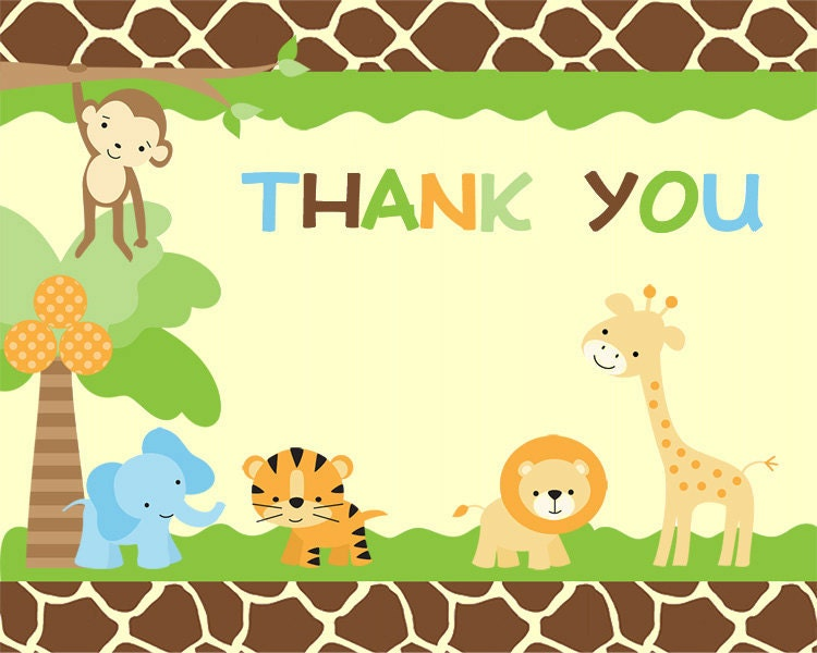 jungle safari thank you notes for baby shower or birthday