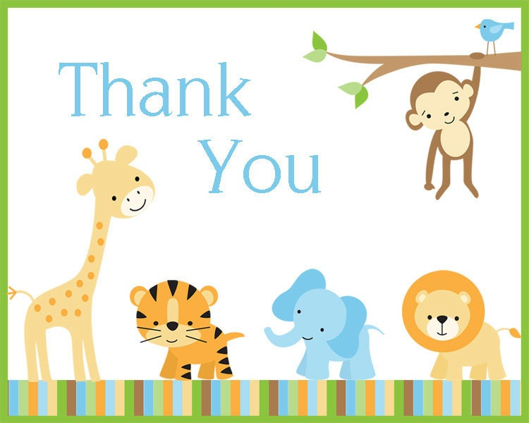 baby shower thank you notes jungle safari theme set of 100