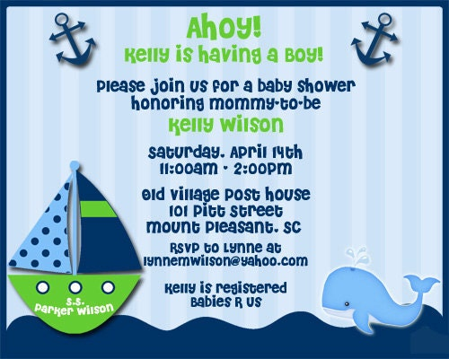 ahoy its a boy nautical theme baby shower invitations with