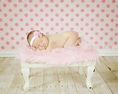 Pink Faux Fur Fabric Nest Long Pile Mongolian Blanket Basket Stuffer Newborns Baby Girl Photography Photo Prop
