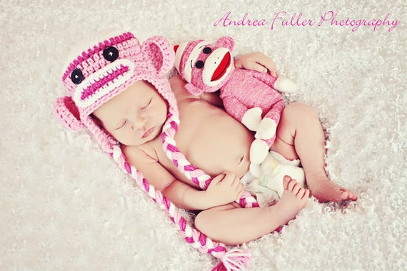 White, Bright Pink & Light Pink Sock Monkey Earflap Hat and Matching Doll- Newborn Baby Girl Photography Photo Prop - Ready to Ship