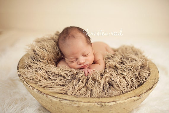 Curly Tan Brown Faux Fur Fabric Nest Blanket Basket Stuffer Newborn Baby Boy Girl Neutral Brown Photography Photo Prop - Ready to Ship