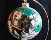 Hand Painted Ornament working horses in the snow item 89