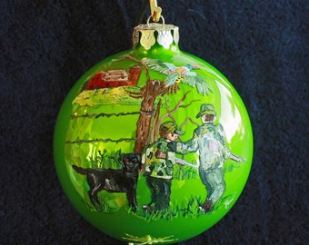 Hand Painted Ornament Father and Son Hunters item 110