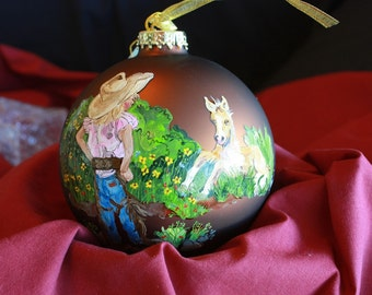 HAND PAINTED ORNAMENT - Little Girl /  Pony - Item 171
