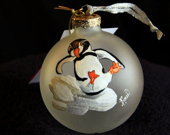 Hand Painted Ornament-Penguin Sliding On Snow-item 421
