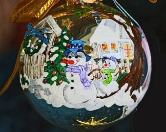 Hand Painted Christmas Snowmen Ornament item 10