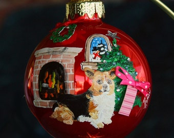 Hand Painted Christmas Ornament with a Corgie sitting next to the tree w/3d item 50