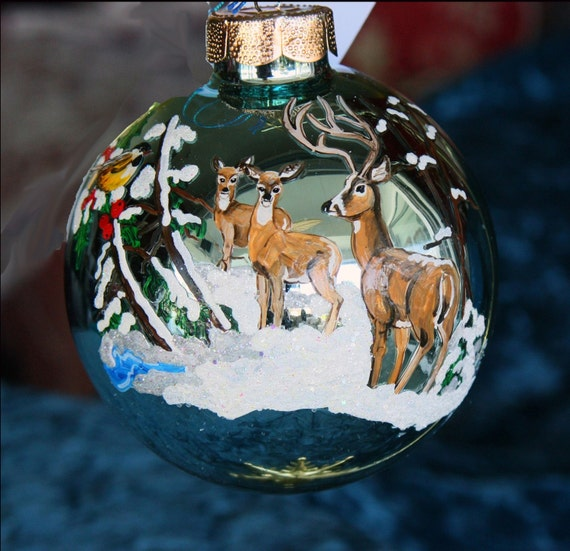 Hand painted Christmas ornament holiday scene with 3 deer item