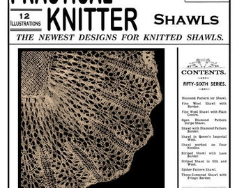 Edwardian era Pattern book for Knitting Shawls Weldon's 2D (209) c.1902