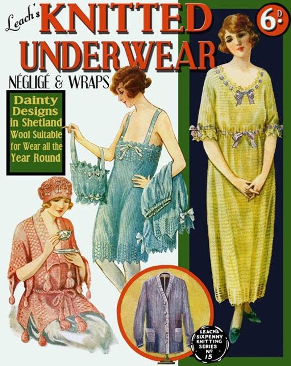 Leach's 6D (15) c. 1920 Vintage Knit & Crochet Underwear Negligee and Wraps