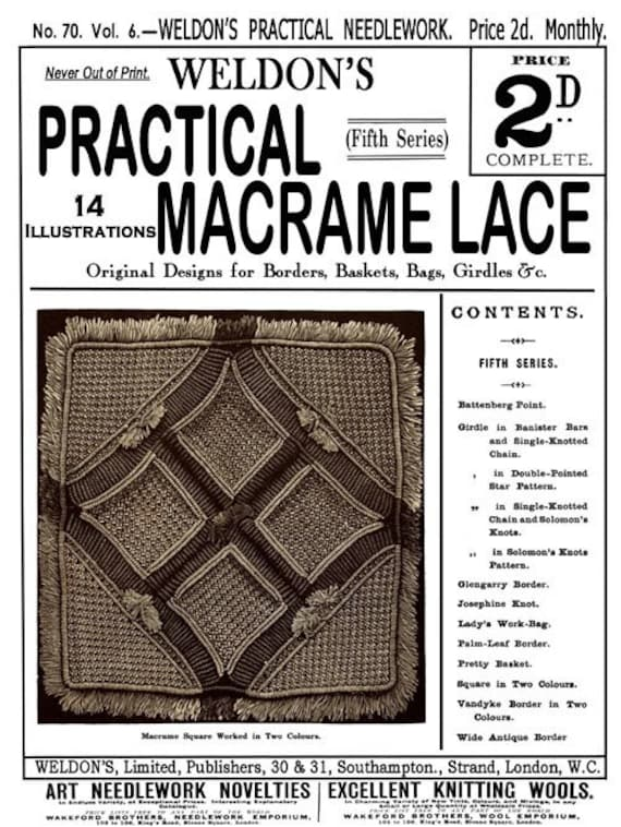 Weldons 2D (70) c.1890 - Practical Macrame Lace - Fifth of Five Books