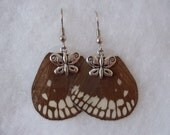Real Butterfly Wing Earrings Brown Hindwing Jewelry
