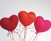 Valentine's Decorations / Heart Wool Felt Lollipops / Six (6) Wool Felt Hearts / Party Decorations