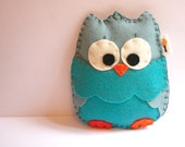 Baby Owl Rattle / Earth Friendly Vintage Blue