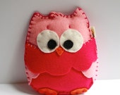 Baby Owl Rattle / Earth Friendly Wool Felt  / Hot Pink