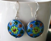 Simple and Sweet Enamel Earrings in Blue