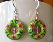 Green Enamel Earrings with Cherry Blossoms