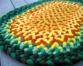 Braided Rug made with recycled cotton tee shirts, t shirts