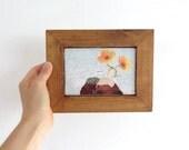 Flowers & Mountains Collage, Original Art in Vintage Wood Frame - OOAK
