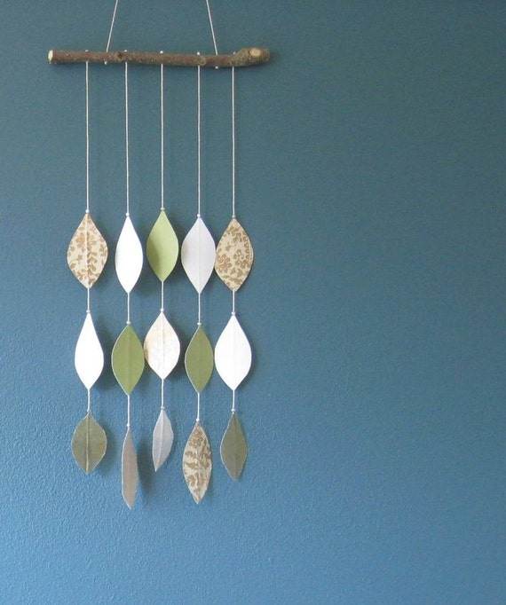 Leaf Mobile in Greens and Gold - OOAK
