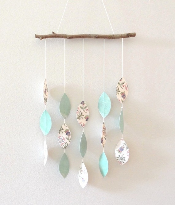 Leaf Mobile in Vintage Floral and Turquoise - OOAK