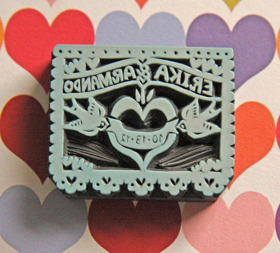 Hand Carved Papel Picado Wedding Stamp -DIY Wedding Stationery, Save the Date, Engagement, Invitations, Thank You Cards-