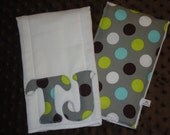 Personalized Custom 2 pack of Burp Cloths - Baby Boys - Grey with Multi Colored Polka Dots - Great Baby Shower or New Baby Gift