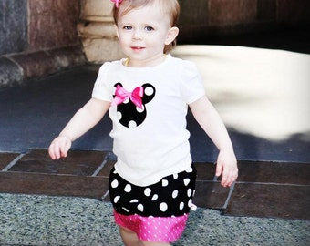 Disney Inspired Minnie Mouse Outfit - Baby Toddler Girls - Disney Trips or Gift - Black Pink Dots- Brother shirt to Match