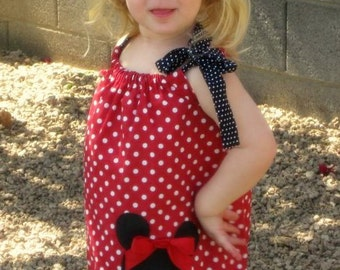 Disney Minnie Mouse Inspired Baby Toddler Dress - Pillowcase Dress - Brother Shirt Available -Great for Disney Trips and Birthdays