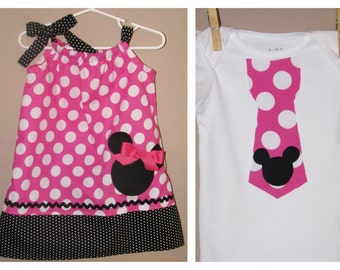 Disney Brother Sister Set - Baby Toddler Girl Boy -Dress and Tie Shirt - Pink Black Polka Dots -Perfect for Disney Trips - Mickey Minnie