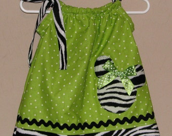 Disney Minnie Mouse Inspired Baby Toddler Dress - Pillowcase Dress- Zebra Lime Green Polka Dots - Great for Disney Trips and Birthdays