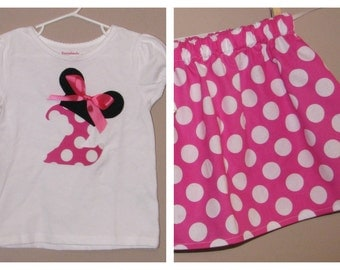 Disney Inspired Minnie Mouse Outfit -Baby Toddler Girls -Perfect for Disney Trips or Birthday Gift- Pink Polka Dots- Brother shirt to Match