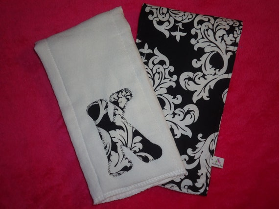 Personalized Custom 2 pack of Burp Cloths - Classic Damask - Black and White - Great Baby Shower or New Baby Gift