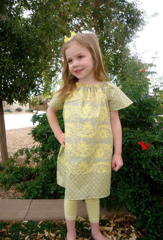 Spring Canary and Gray - Girls Peasant Dress - Baby Toddler Girls - Brother Sister Set Available - Perfect for Spring, Summer, Easter