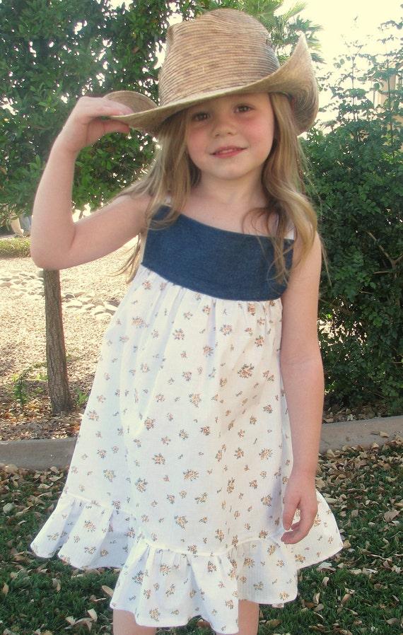 SALE LAST ONE - Vintage Reverse Knot Dress - Denim Floral Cotton Seersucker Dress - Baby Toddler - Spring Summer 12 or 18mos only